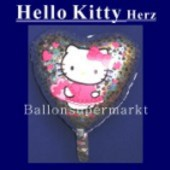 Luftballon Hello Kitty, Herz Folienballon mit Ballongas (FHGE-Hello-Kitty-Luftballon-Herz-45-01)