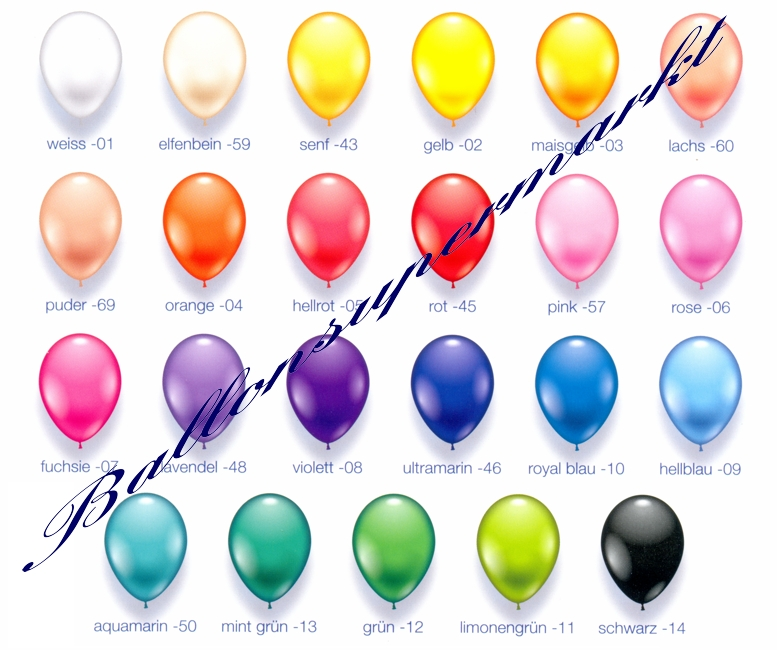 Deko Luftballons, Serie 1, Standardfarben