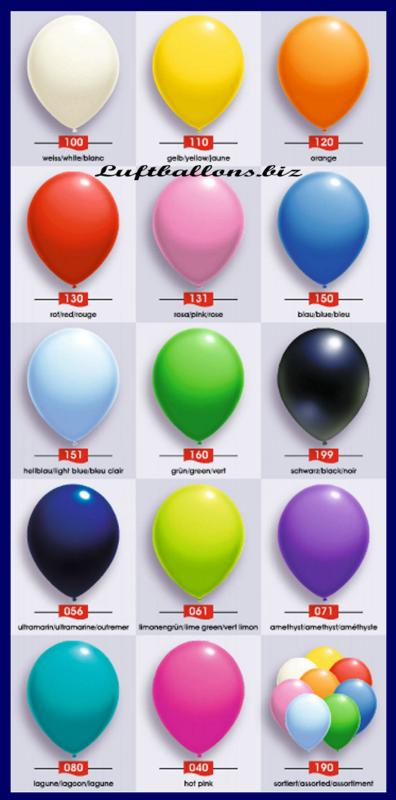 Standardfarben, Deko Luftballons Serie 2